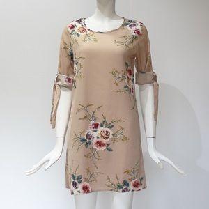 Simply Lotus Dresses - Beige Floral Chiffon Mini Sundress [O]